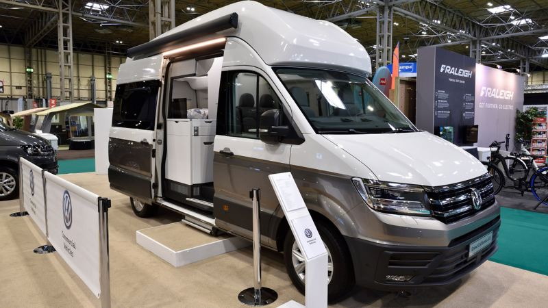 VW beach stand and Grand California motorhome