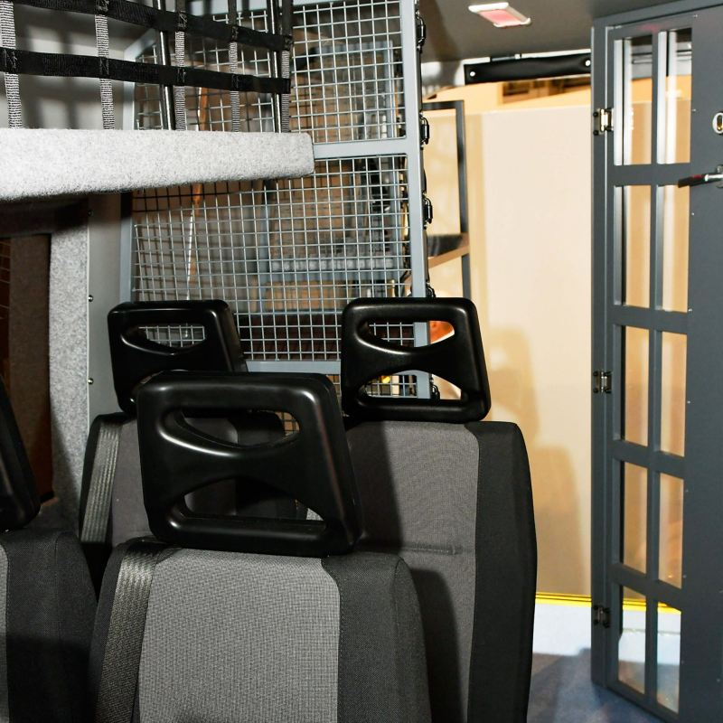 VW Crafter police riot van conversion storage and seating