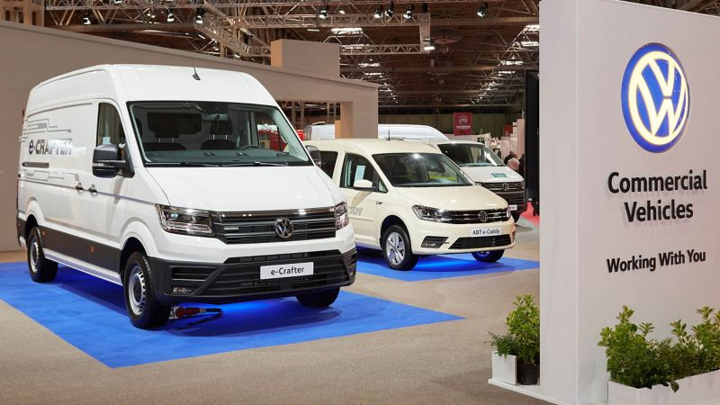 VW e-Crafter and e-Caddy at Commercial Vehicle Show 2019