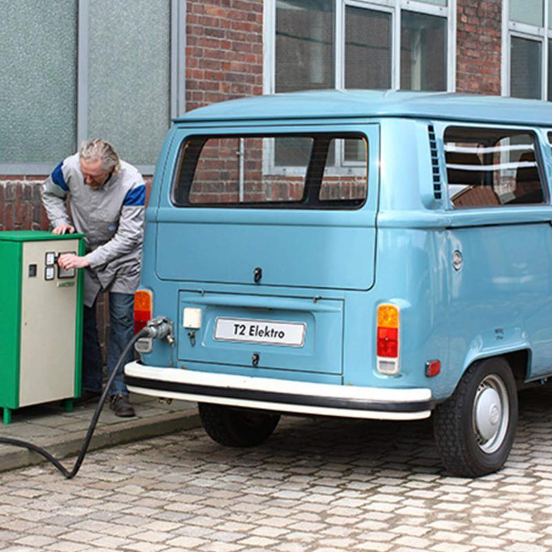 Vintage VW electric van charging