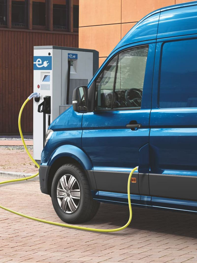 VW e-Crafter connected to a charging point