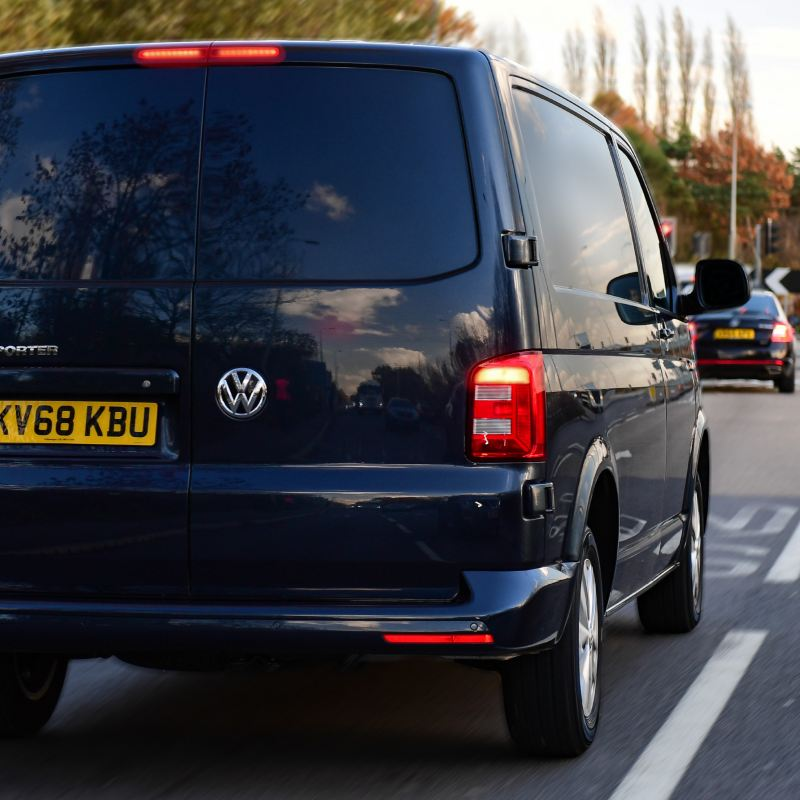 VW van braking point on the road