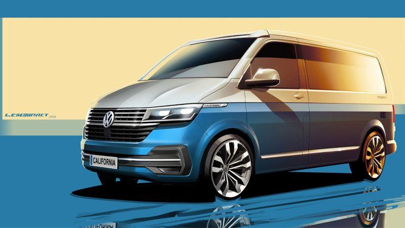 new VW California 6.1 camper van exterior sketch