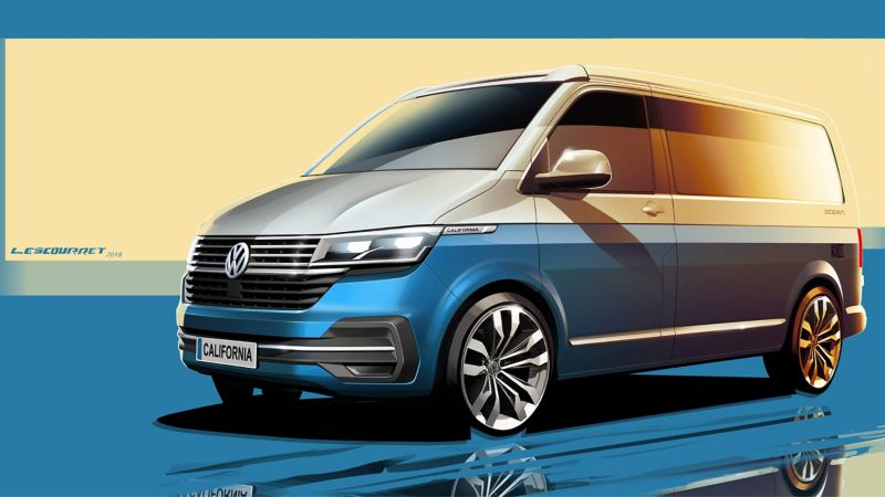 new VW California 6.1 camper van exterior sketch