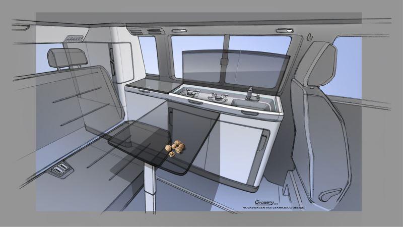 new VW California 6.1 camper van interior design concept