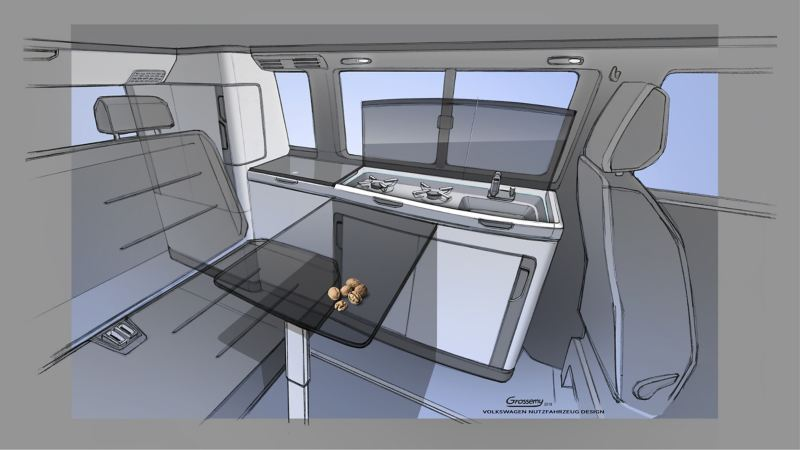 new VW California 6.1 camper van interior design concept