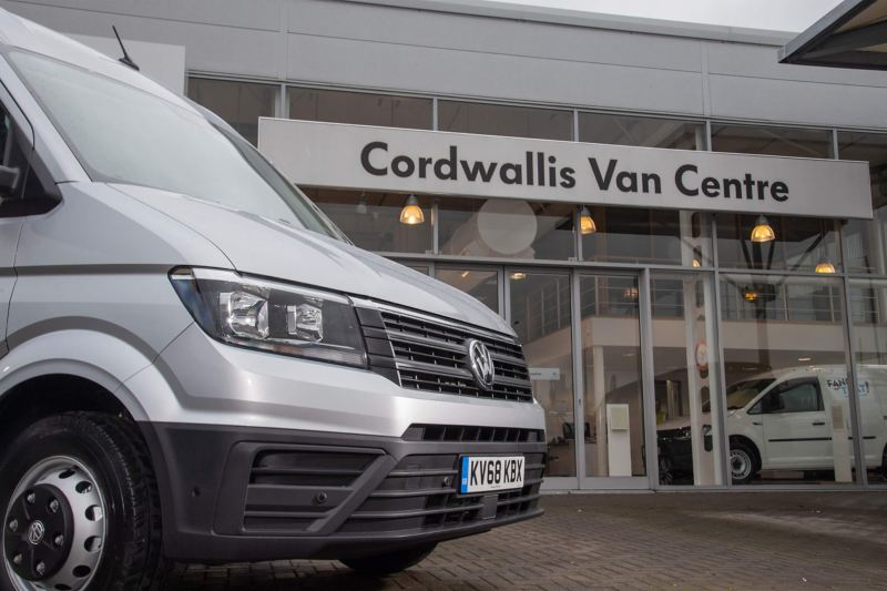 Volkswagen van outside Cordwallis Van Centre