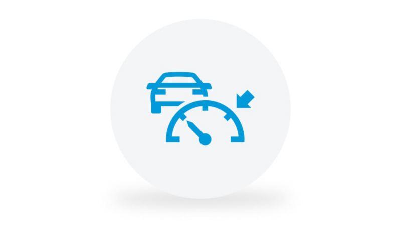Ein Piktogramm symbolisiert die Funktion der Automatischen Distanzregelung ACC.