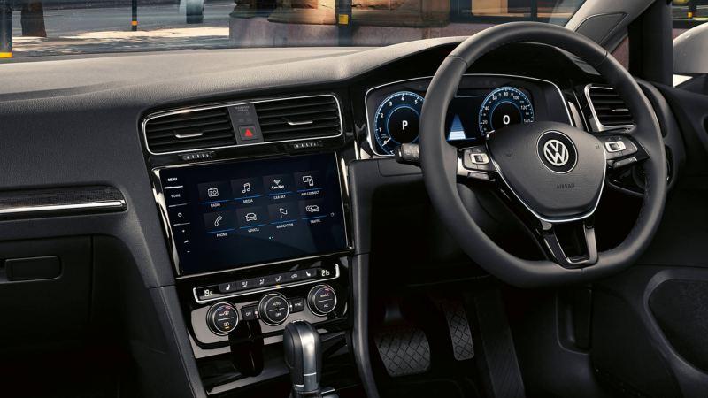 Interior dashboard shot of the Volkswagen Golf GT.