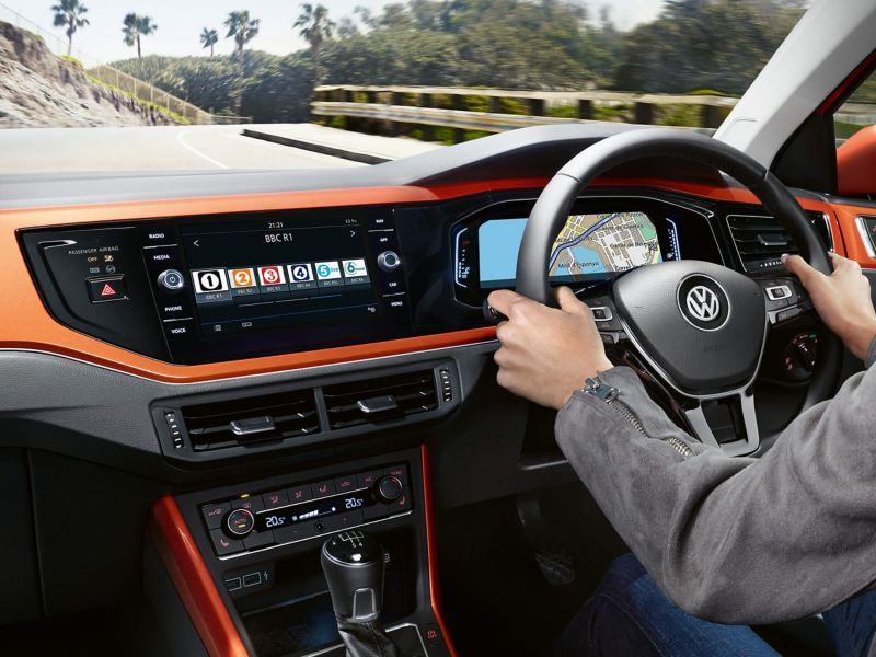 Interior dashboard shot of the Volkswagen Polo SE L.