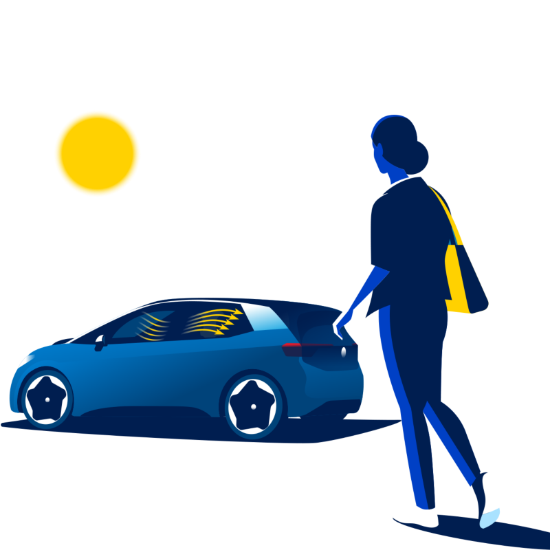 A woman walks towards the Volkswagen ID.3