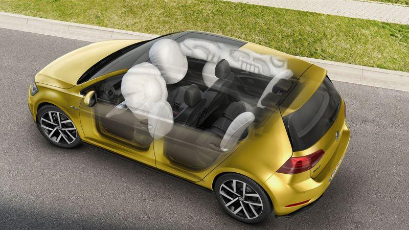 Visualizzazione schematica degli airbag su una Volkswagen