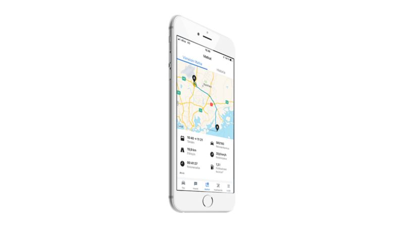 Ajotietopalvelu älypuhelimen näytöllä