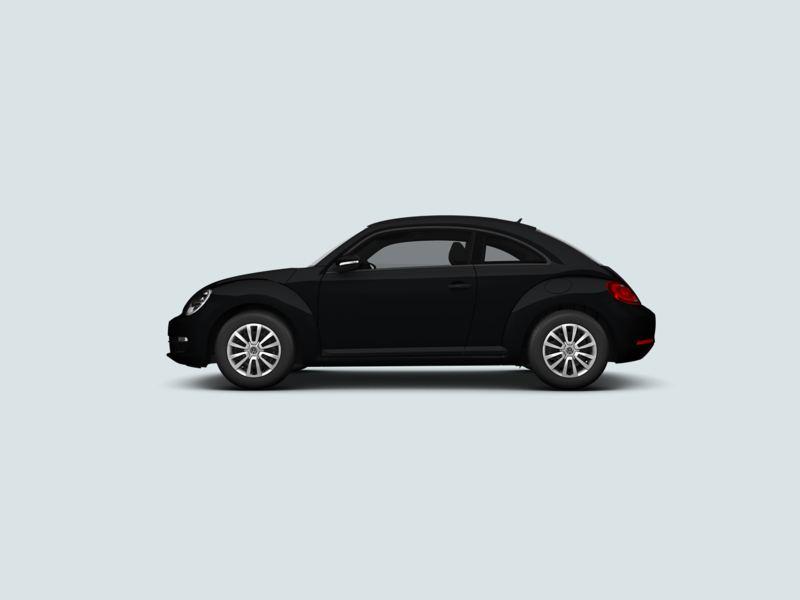 Profile view of a black Volkswagen Beetle..