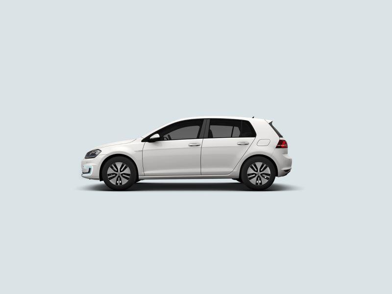 Profile view of a white Volkswagen e-Golf.