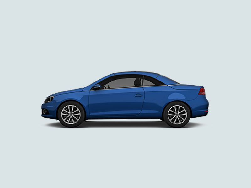 Profile view of a blue Volkswagen Eos..