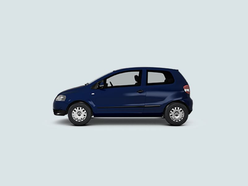 Profile view of a blue Volkswagen Fox..