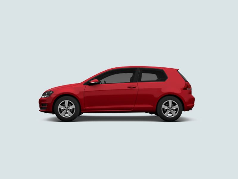Profile view of a red Volkswagen Golf..
