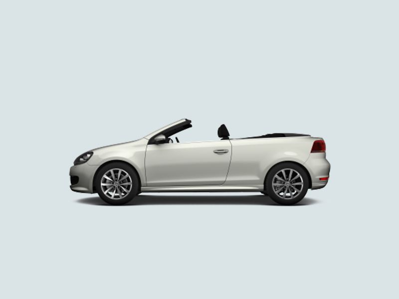 Profile view of a white Volkswagen Golf Cabriolet, with the soft-top roof down.