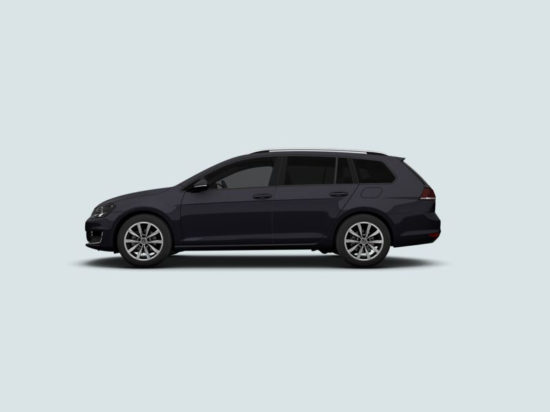 Profile view of a black Volkswagen Golf Estate.