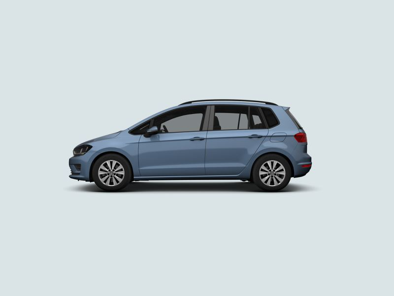 Profile view of a blue Volkswagen Golf SV.