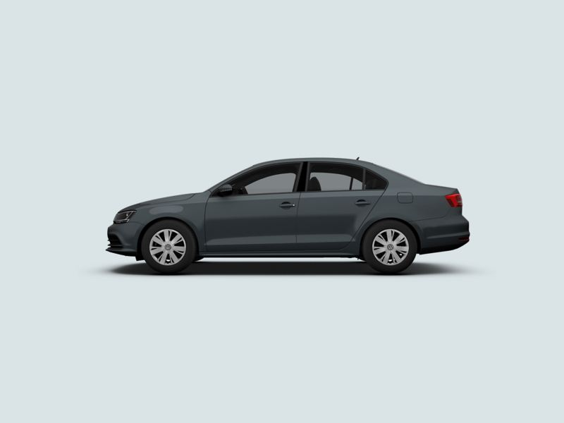 Profile view of a grey Volkswagen Jetta.