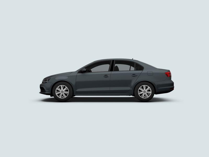 Profile view of a grey Volkswagen Jetta.