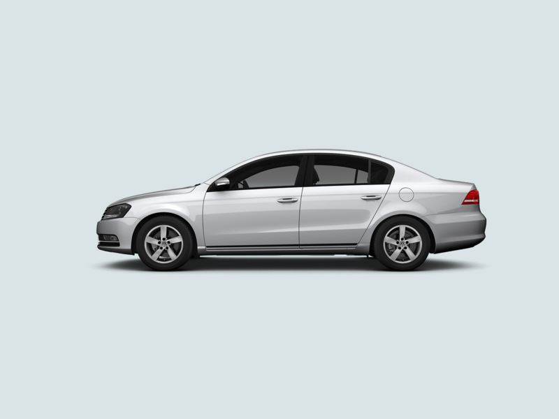 Profile view of a silver Volkswagen Passat..