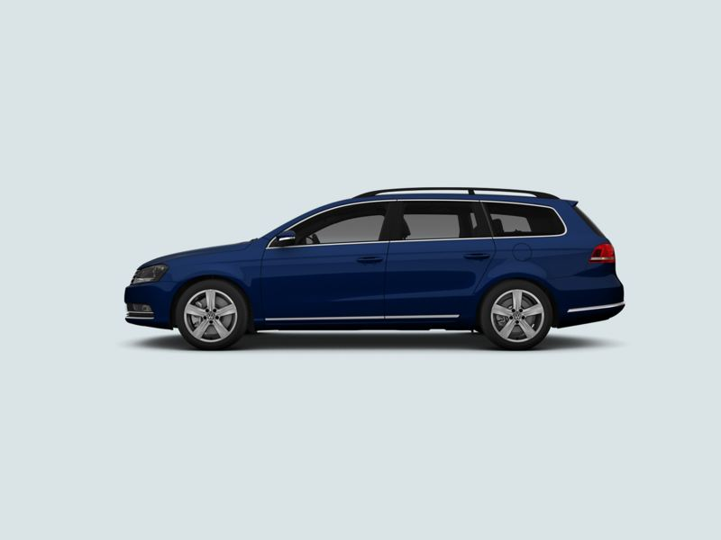 Profile view of a blue Volkswagen Passat Estate..