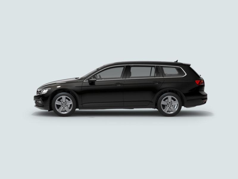 Profile view of a black Volkswagen Passat Estate.