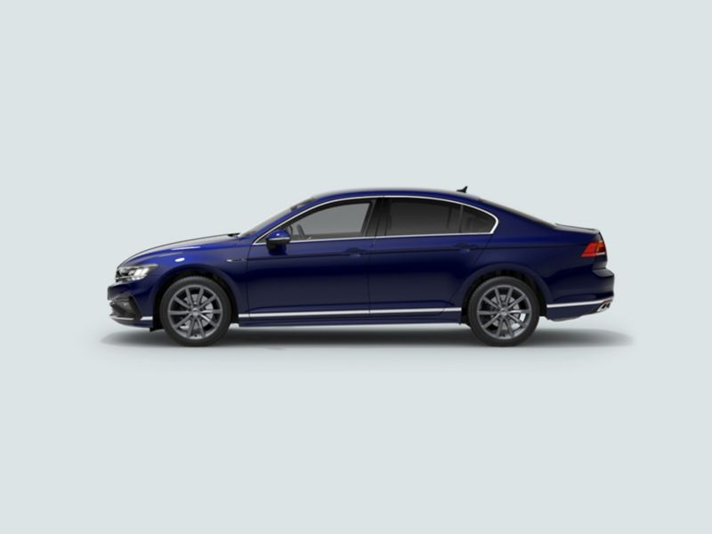 Profile view of a blue Volkswagen Passat Saloon.