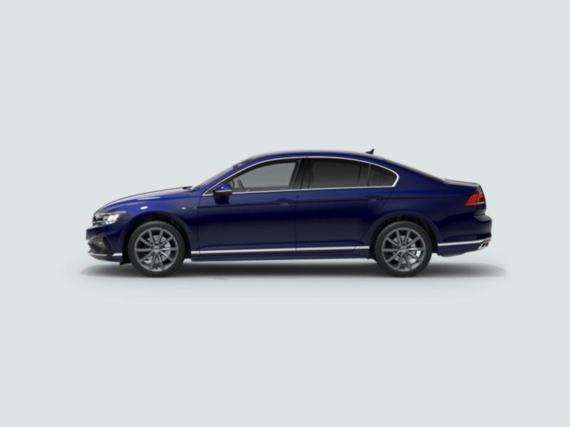 Profile view of a blue Volkswagen Passat Saloon.