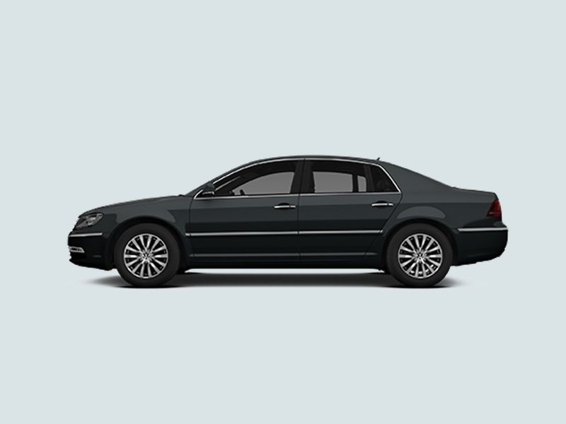 Profile view of a black Volkswagen Phaeton..