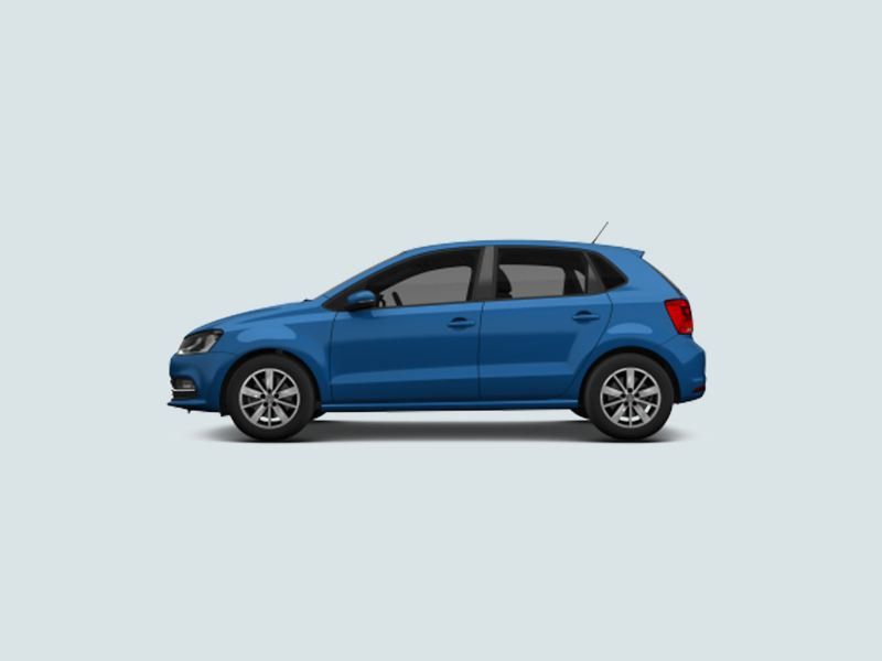Profile view of a blue Volkswagen Polo..