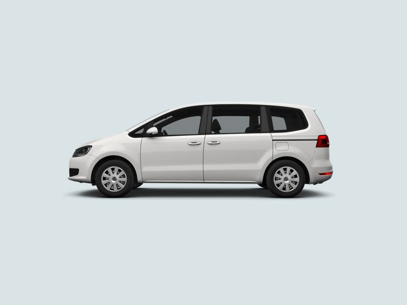 Profile view of a white Volkswagen Sharan..