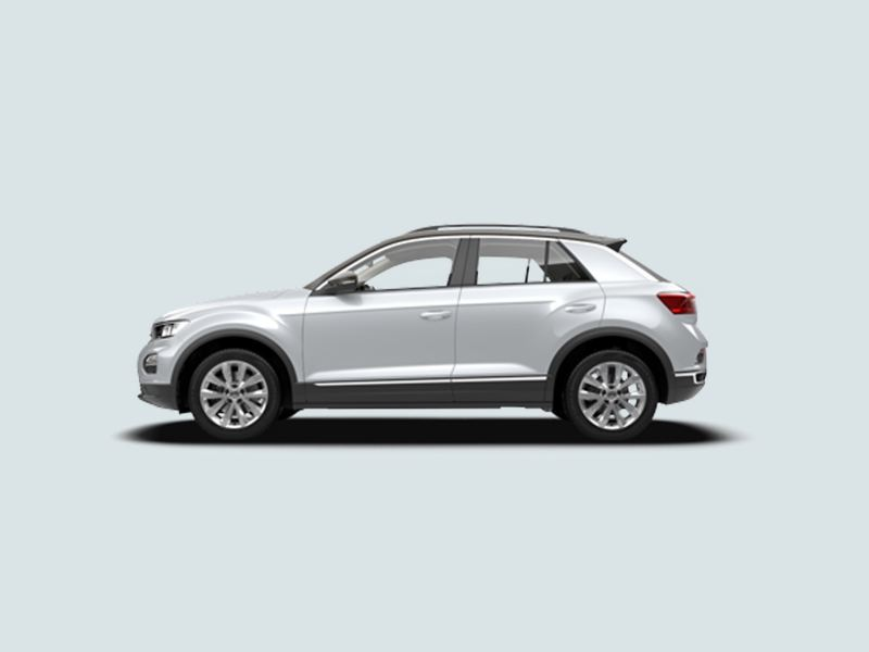 Profile shot of a white Volkswagen T-Roc.