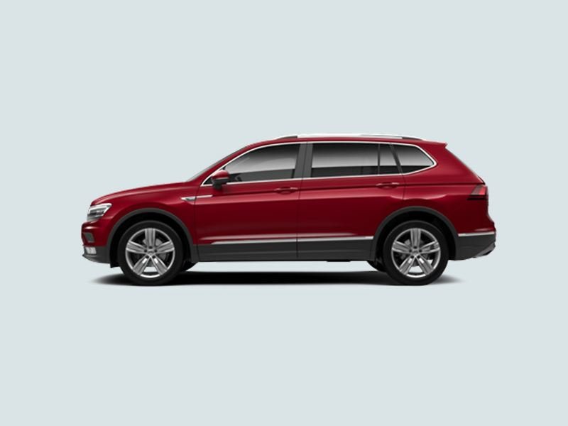 Profile view of a red Volkswagen Tiguan Allspace..