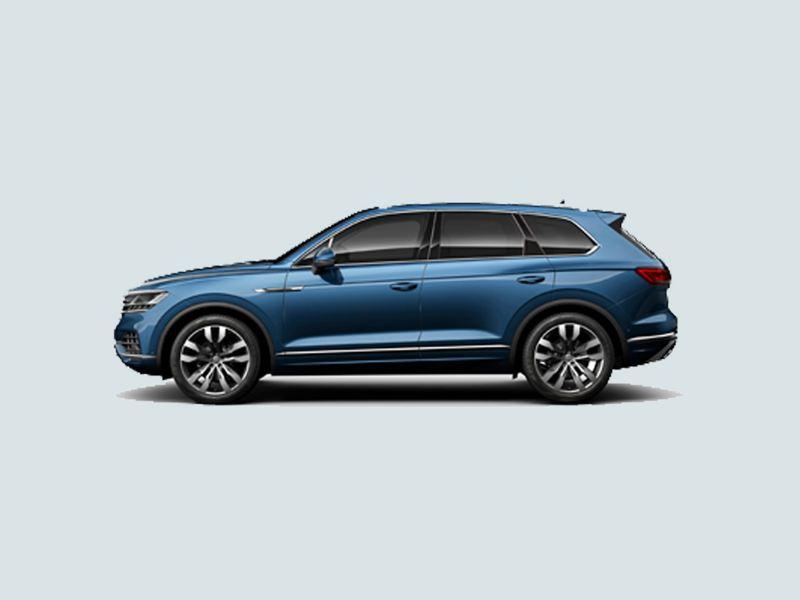Profile shot of a blue Volkswagen Touareg.