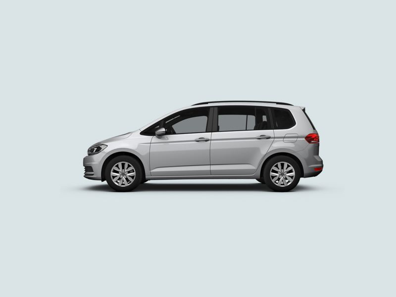 Profile shot of a silver Volkswagen Touran.