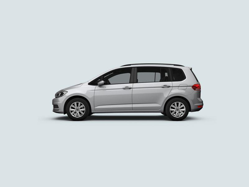 Profile shot of a silver Volkswagen Touran.