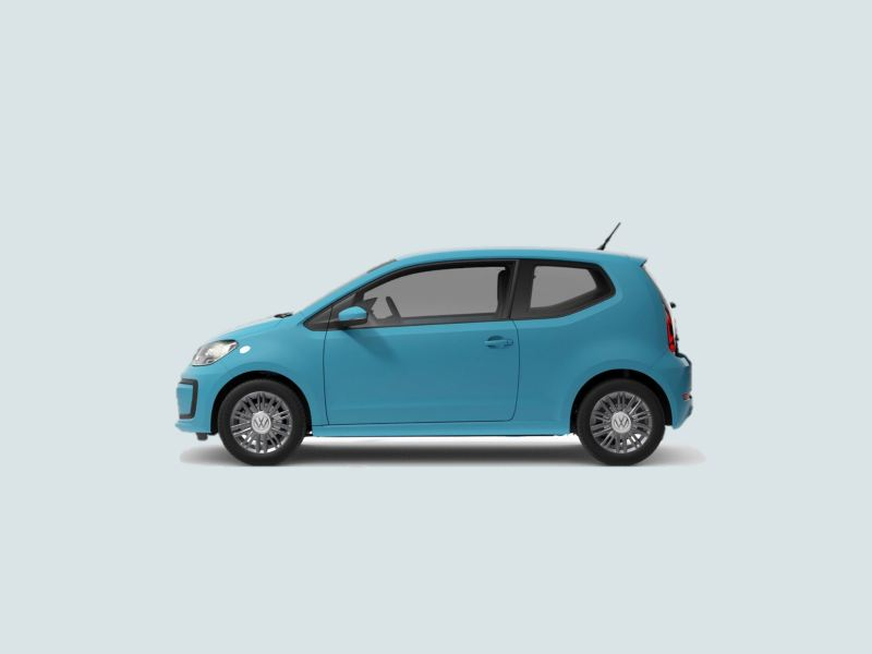 Profile shot of a blue Volkswagen up!.