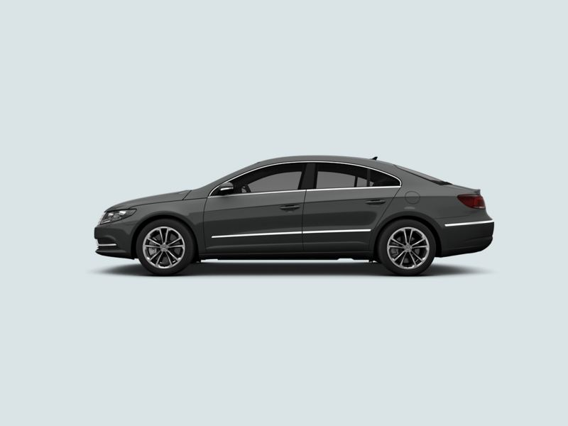 Profile shot of a grey Volkswagen CC.