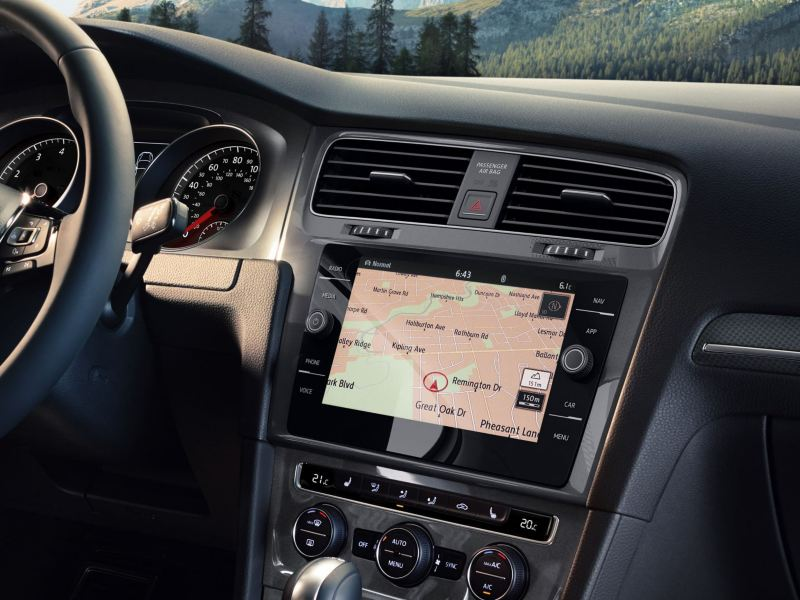 The infotainment system inside the Golf Alltrack