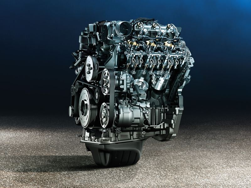 Wide shot of an artfully arranged engine without a car.