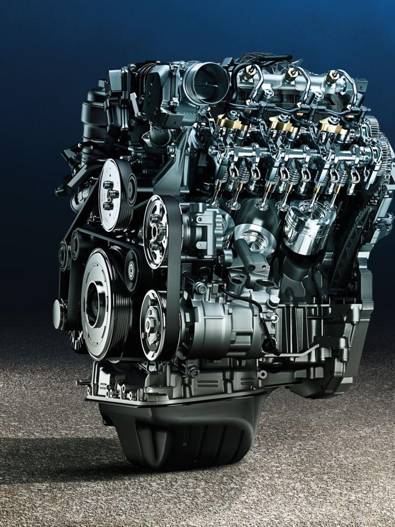 Zbliżenie stylowo zainscenizowanego silnika bez samochodu.