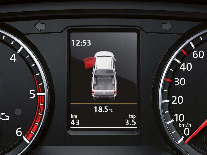 """Das Display der Multifunktionsanzeige """"Premium"""" zeigt eine offene Tür und aktuelle Informationen wie Uhrzeit und Außentemperatur an."""