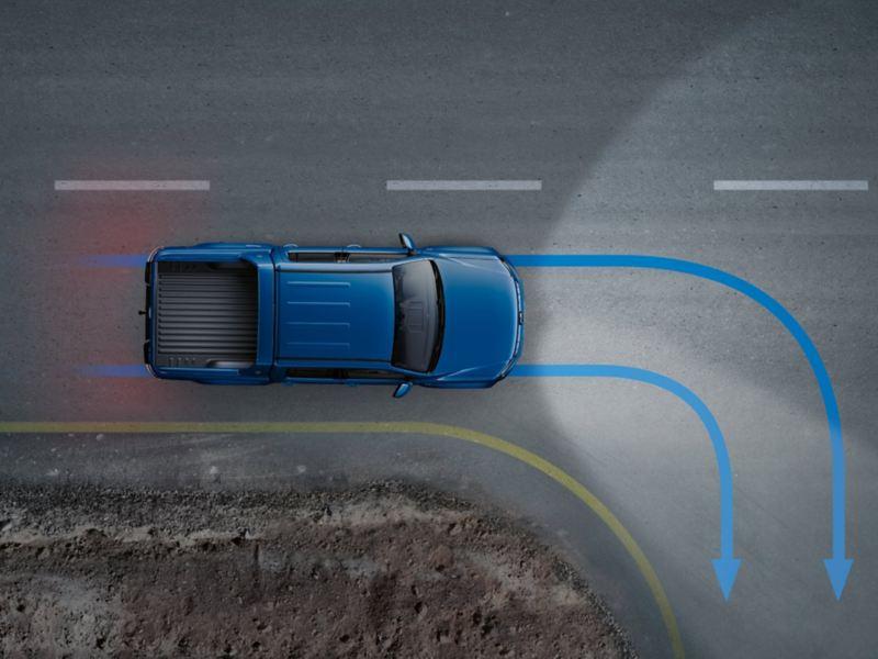 Dimljus med integrerade kurvljus i VW Amarok pickup