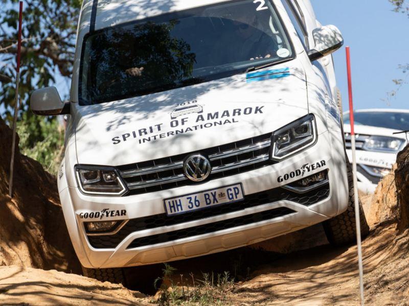 Ein weißer Amarok fährt beim internationalen Spirit of Amarok 2018 in Südafrika durch unwegsames Gelände.