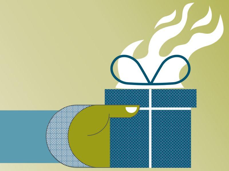 Eine Grafik von einer Hand die ein brennendes Geschenk hält.