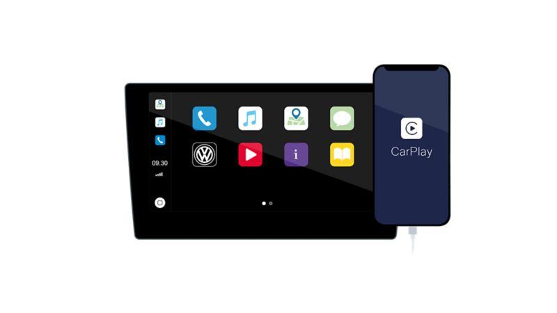Touchscreen des Infotainment-Systems und Smartphone Display mit CarPlay